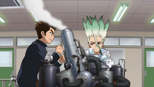 Taiju and Senku in the Chemistry Lab