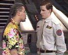 Lister sees the hologram of Rimmer.